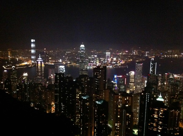 Hongkong bei Nacht und von oben