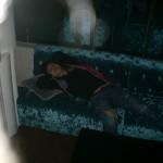 Ein schlafender Chinese im  Sky-Club (Shanghai)